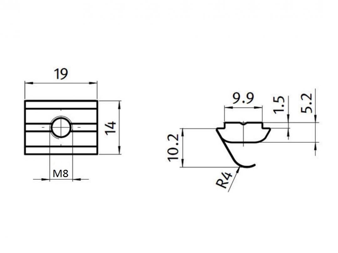 M6 Nutenstein mit Feder B-Typ Nut 10